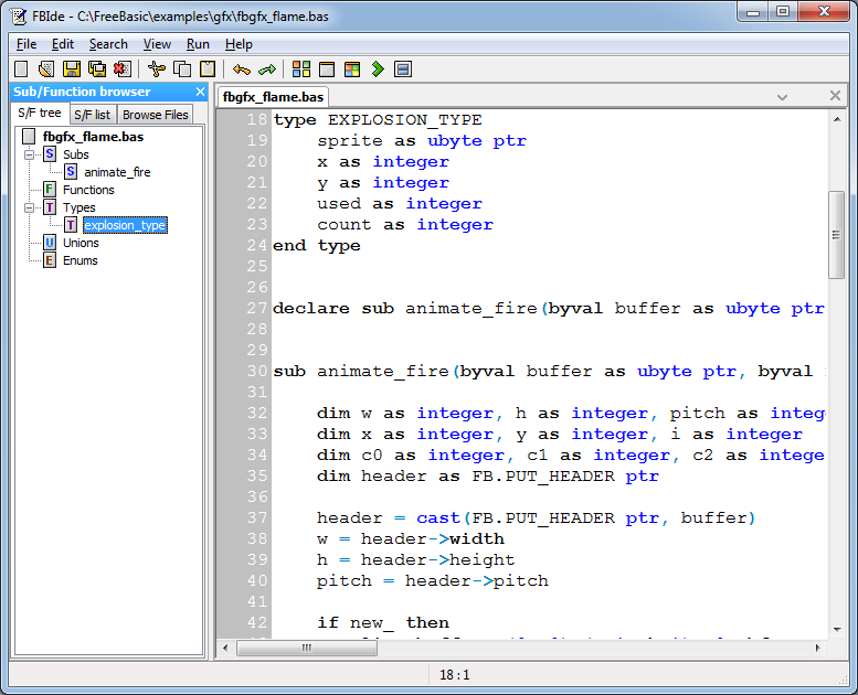 FBIde with code browser